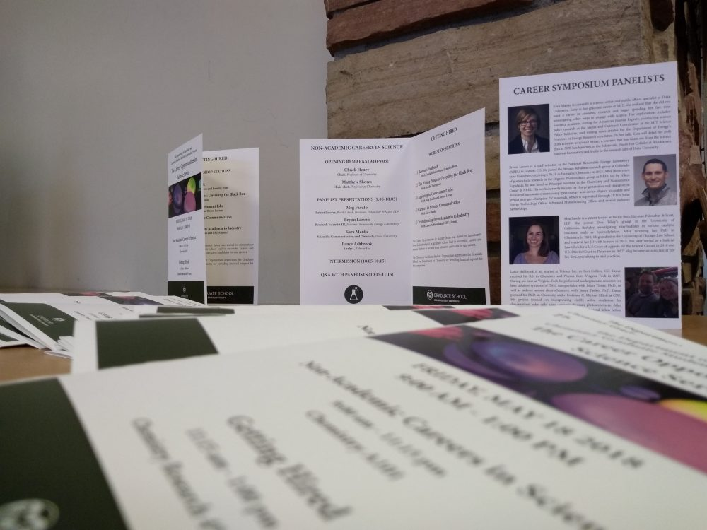 image of CGSO Career Symposium pamphlets