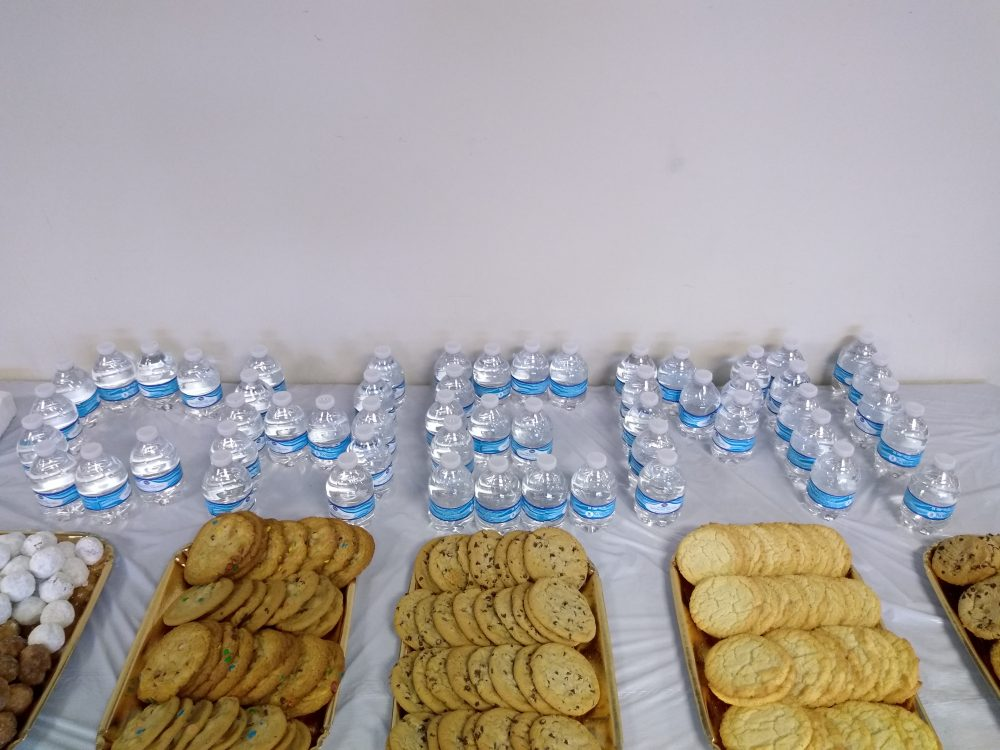 image of cookies and water at CGSO Career Symposium